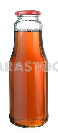 Apple juice in a glass bottle