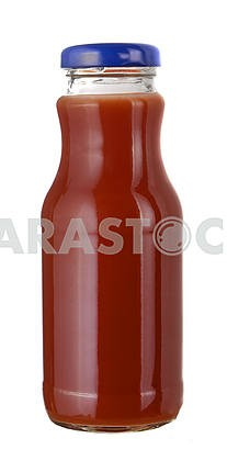 tomato juice in a little glass bottle