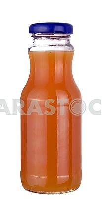 Peach juice in a little glass bottle