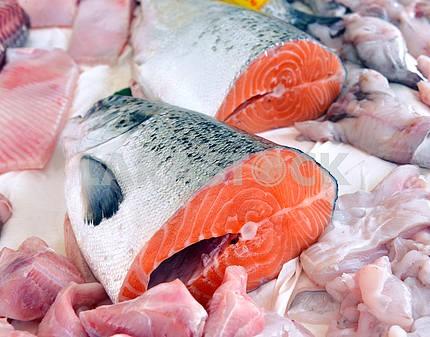 fresh red salmon slices