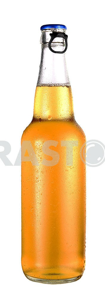 Transparent bottle of beer with drops — Image 18507