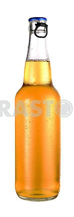 transparent bottle of beer with drops