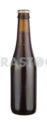 Bottle of dark  beer with drops