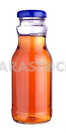Apple juice in a little glass bottle