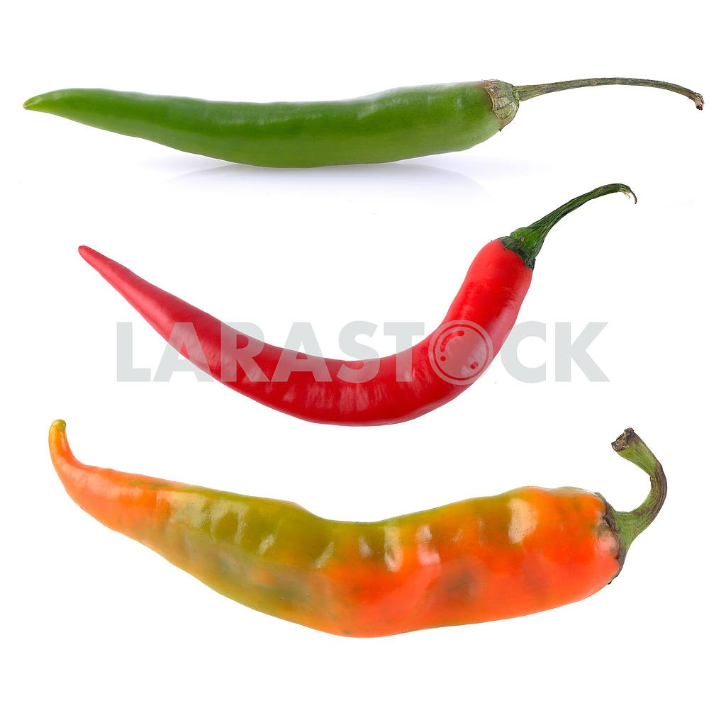 Green orange red hot chili pepper — Image 18564