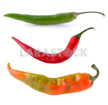 green orange red hot chili pepper