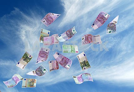 european currency shot as if flying away