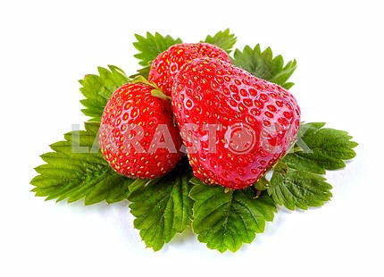 Whole strawberry and leaves