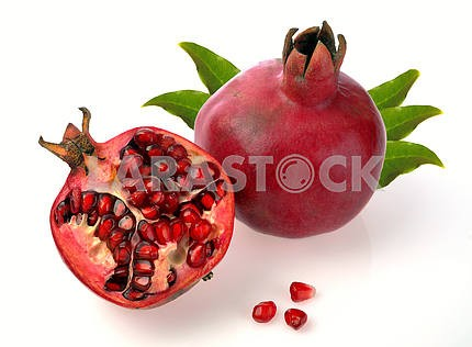 Pomegranate whole and open-face