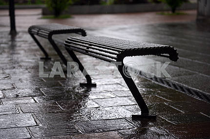 Wet benches in the rain
