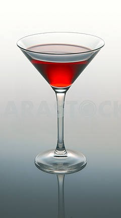 Martini glass with red coctail