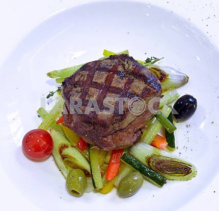 Grilled rib-eye steak with ratatouille