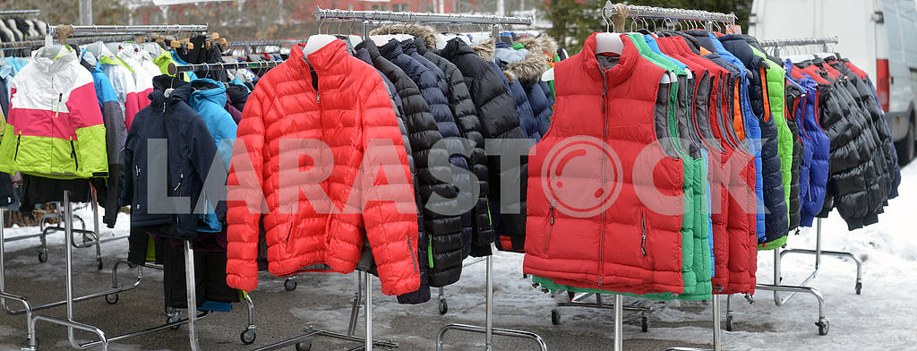 Sports clothing store ski in ski resort