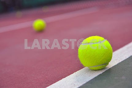 Tennis Balls shot on a outdoor tennis court