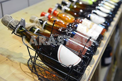Red and white wine in bottles