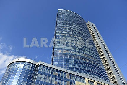 Blue glass high rise tower