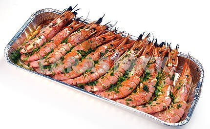 Baked shrimp in a container