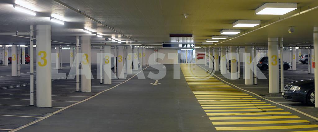 Panorama of underground parking