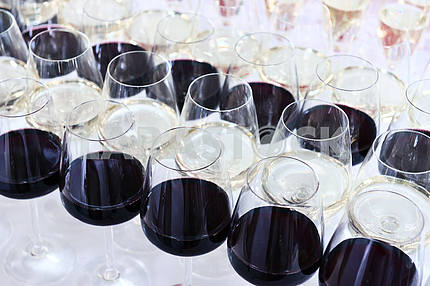 several glasses of red wine