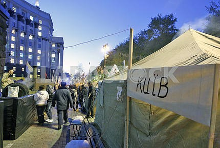 "The tent city of ""Tariff Maidan"" in Kiev."