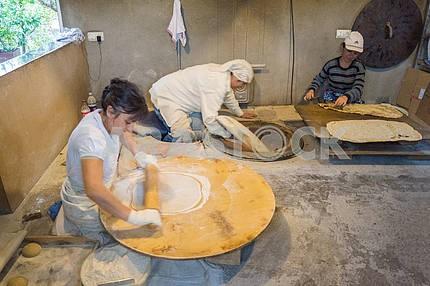 Women preparing lavash.