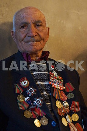War veteran with medals and orders