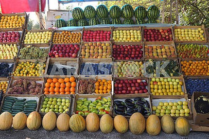 Roadside fruit market.