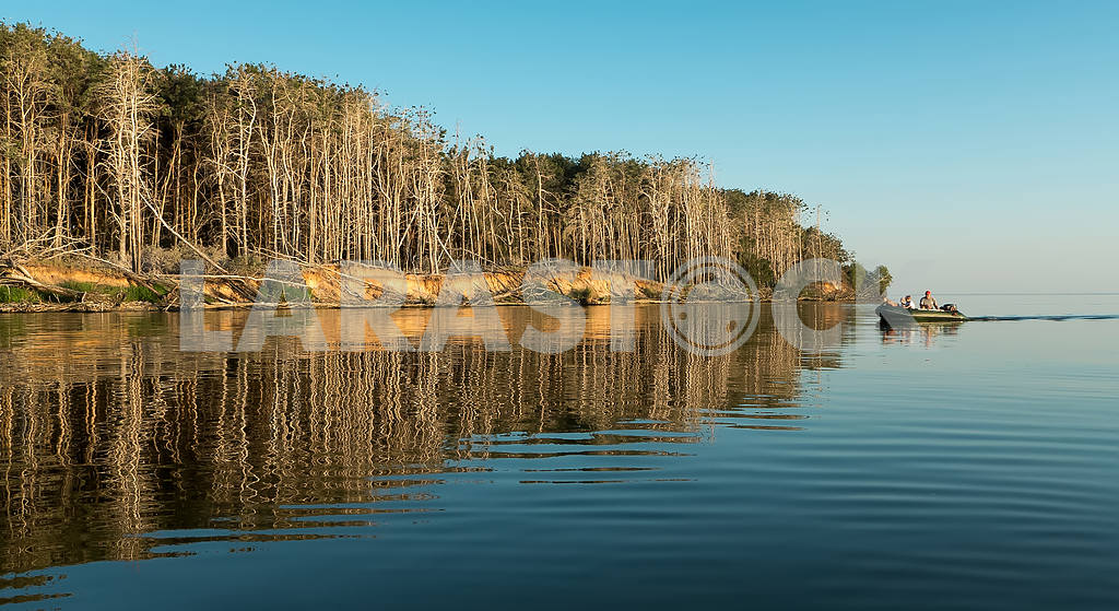 Dinghy sailing past the island on the river with dry trees — Image 20130