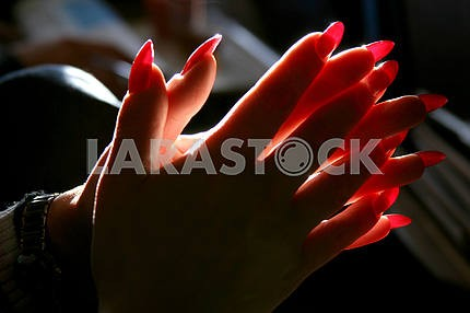 Brushes female hands with crossed fingers