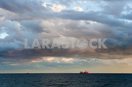 A ship at sea.