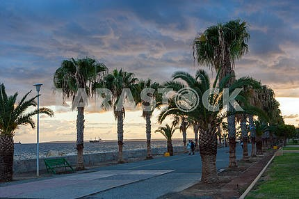 Seafront of Limassol in the evening