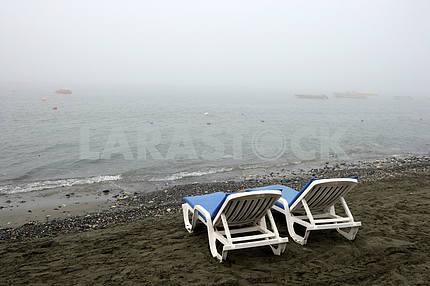 Sun beds on the beach. Cyprus