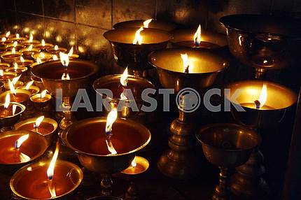 Church candles. Nepal. Katmandu