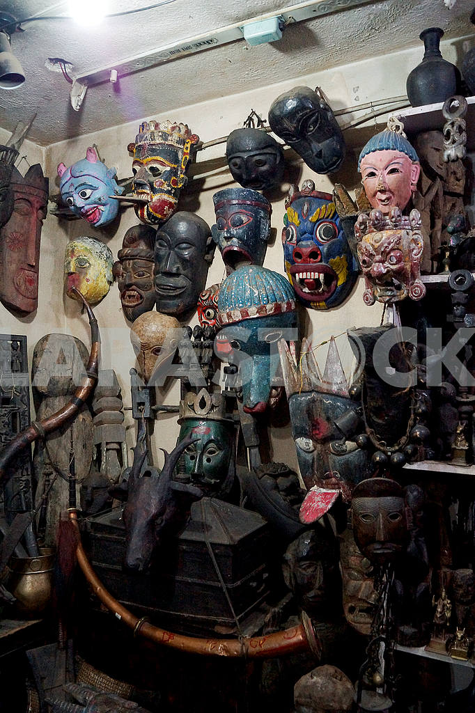 Masks on the walls of shops in Thamel, Kathmandu — Image 20463