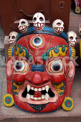 Маска лицо индуистского Бога — Лхаса, Тибет