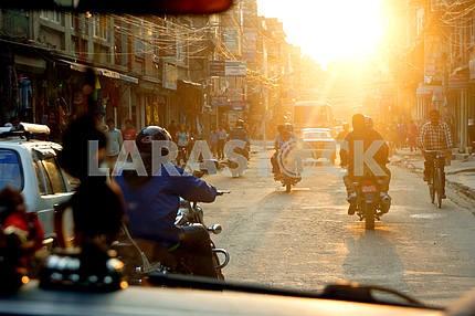 Nepal . A street in Kathmandu.