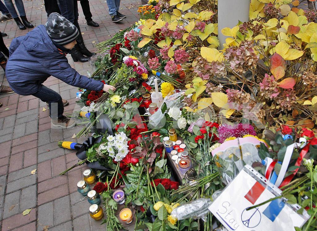 Киевляне возлагают цветы  к посольству Франции  в память о жертвах терактов в Париже — Изображение 20799