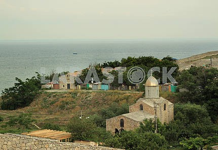 View from the walls of the Genoese fortress on the sea. Feodosia