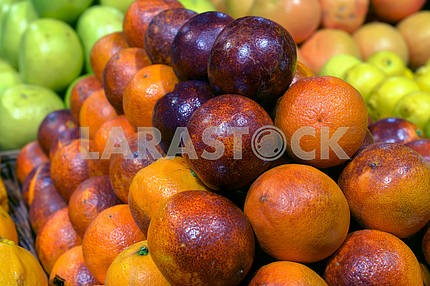 Sicilian red oranges on display in a supermarket