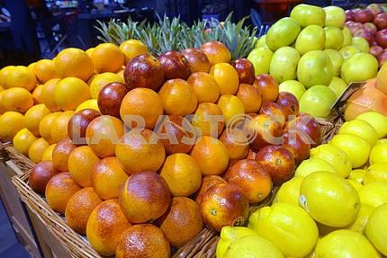 Sicilian red oranges on display