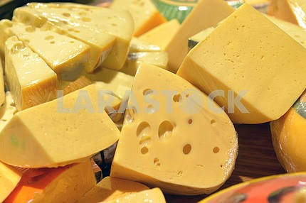 Cheese on display in a supermarket