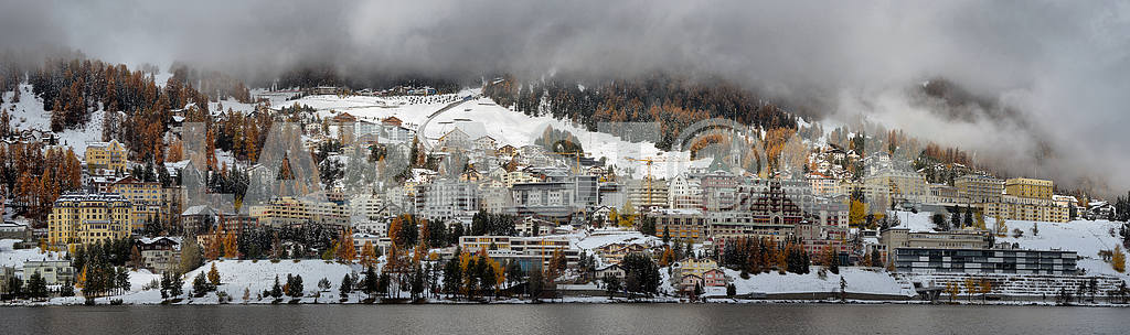 Lake St. Moritz with the first snow in the autumn