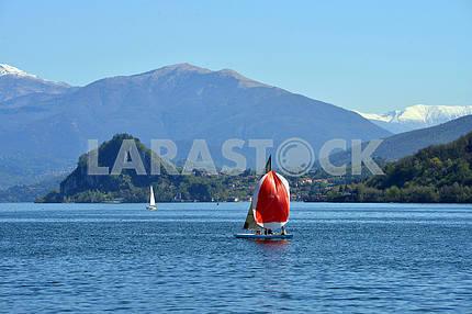ITALY, MAGGIORE 25 AORIL 2014, ,Lake Maggiore in spring day, ITA