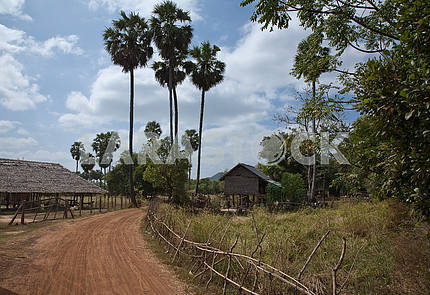 Street of the village in Cambodia