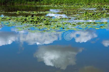 Отражение в озере голубого неба с облаками