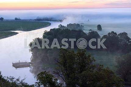 Field, trees and the river Desna. Mezin. Chernihiv region
