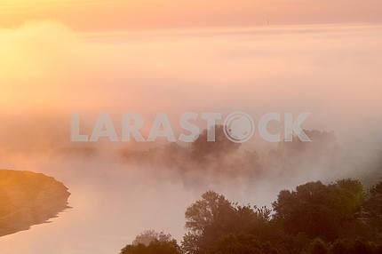 Облака тумана над Десной. Мезин. Черниговская область