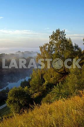 Голубое небо над Десной и деревья. Мезин. Черниговская область