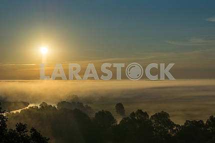 Sun in the sky above the clouds. Mezin. Chernihiv region