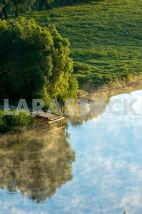 Fishing bridge on the river Desna. Mezin. Chernihiv region
